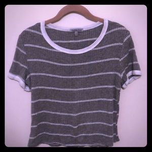 Women's gray & white striped shirt